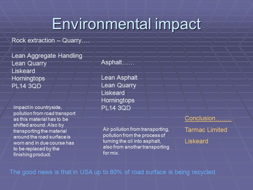 Environmental impact Rock extraction – Quarry….