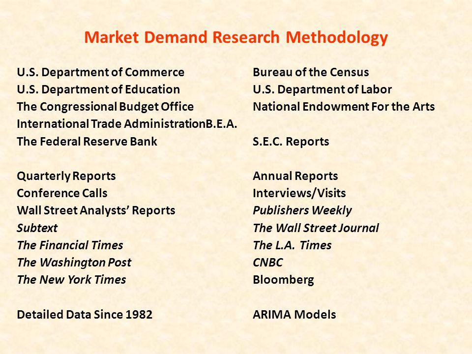 Market Demand Research Methodology U.S. Department of CommerceBureau of the Census U.S.