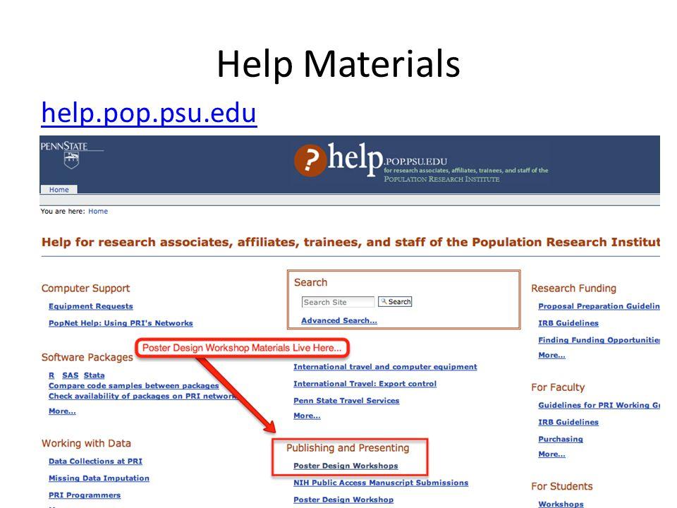 Help Materials help.pop.psu.edu