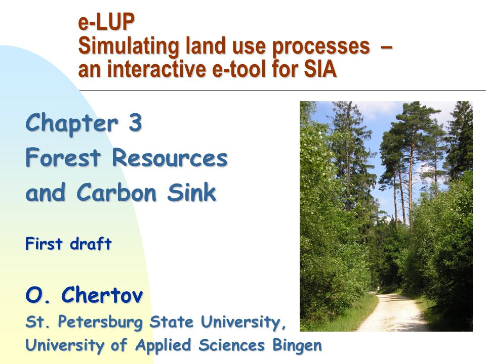 Chapter 3 Forest Resources and Carbon Sink First draft O.