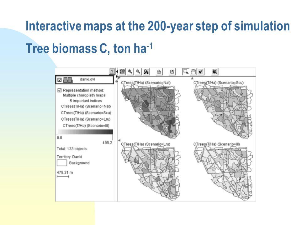 Interactive maps at the 200-year step of simulation Tree biomass C, ton ha -1