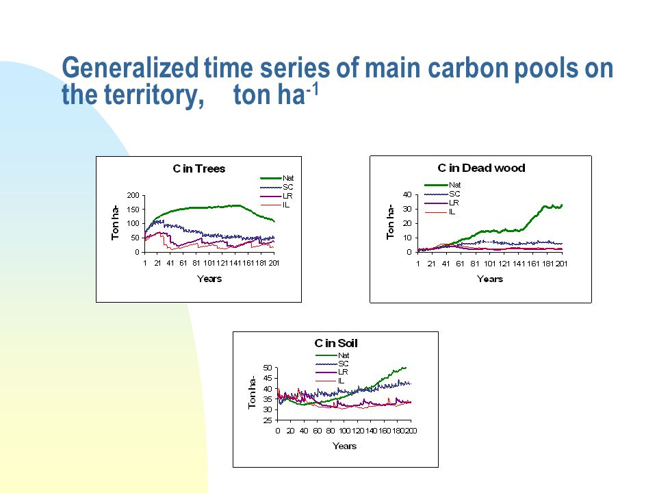 Generalized time series of main carbon pools on the territory, ton ha -1