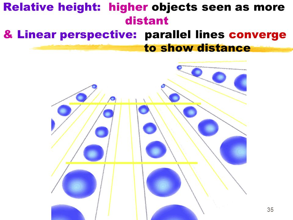 35 Relative height: higher objects seen as more distant & Linear perspective: parallel lines converge to show distance