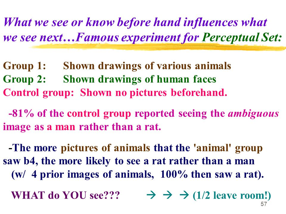57 What we see or know before hand influences what we see next…Famous experiment for Perceptual Set: Group 1: Shown drawings of various animals Group