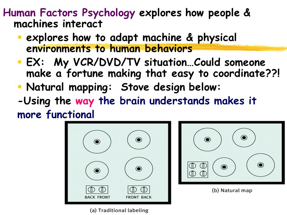 66 Human Factors Psychology explores how people & machines interact  explores how to adapt machine & physical environments to human behaviors  EX: M