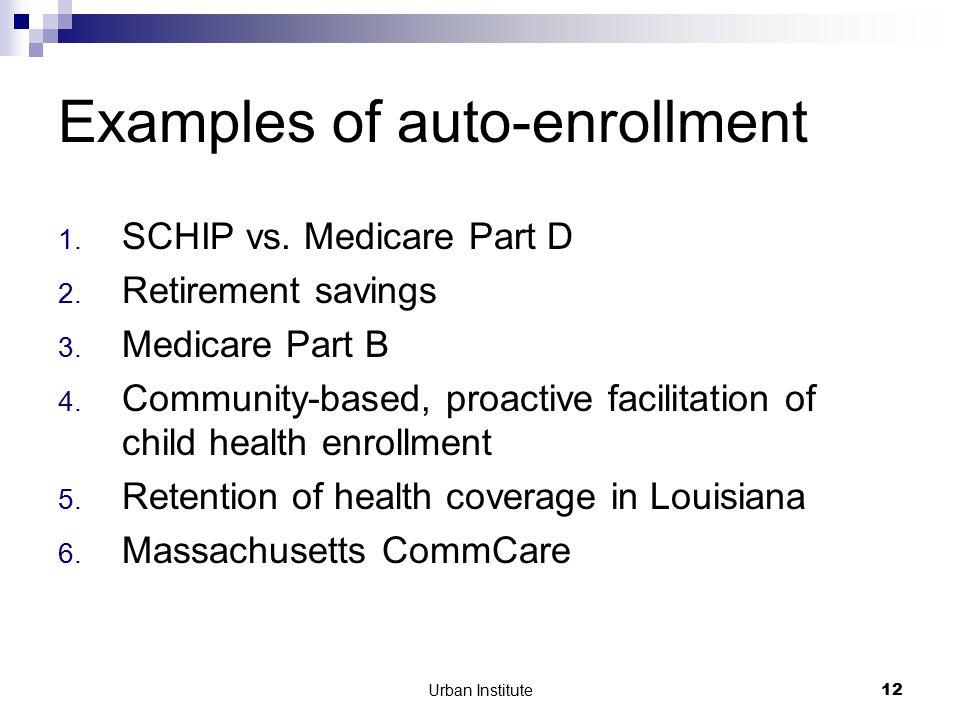 Urban Institute12 Examples of auto-enrollment 1. SCHIP vs.