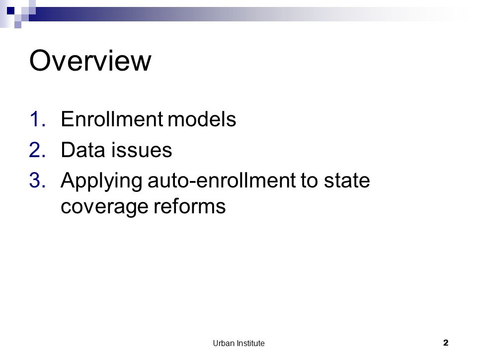 Urban Institute43 Overcoming methodology obstacle Pick non-health program with income threshold far below Medicaid's.