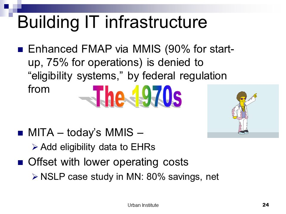 Urban Institute24 Building IT infrastructure Enhanced FMAP via MMIS (90% for start- up, 75% for operations) is denied to eligibility systems, by federal regulation from MITA – today's MMIS –  Add eligibility data to EHRs Offset with lower operating costs  NSLP case study in MN: 80% savings, net