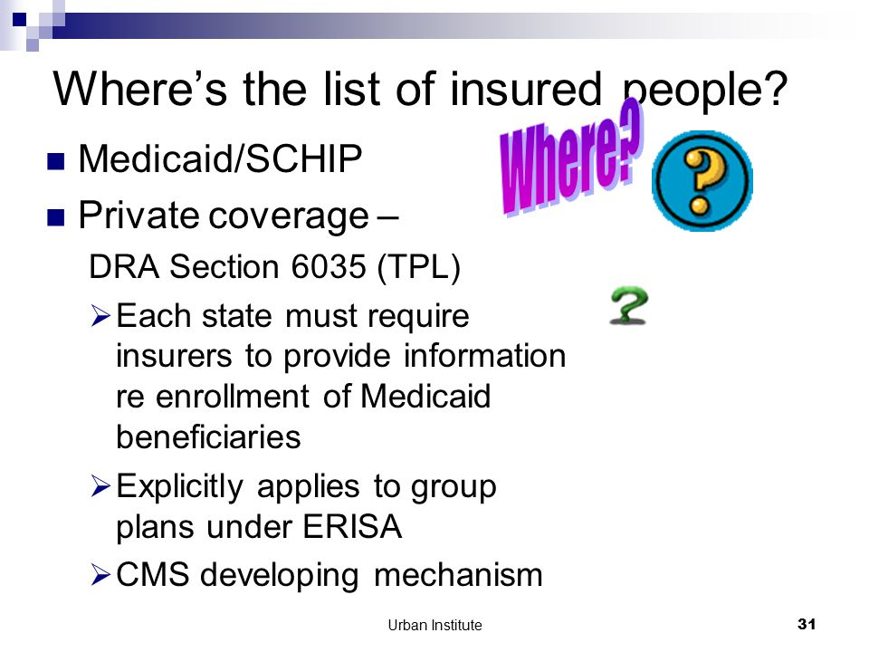 Urban Institute31 Where's the list of insured people.