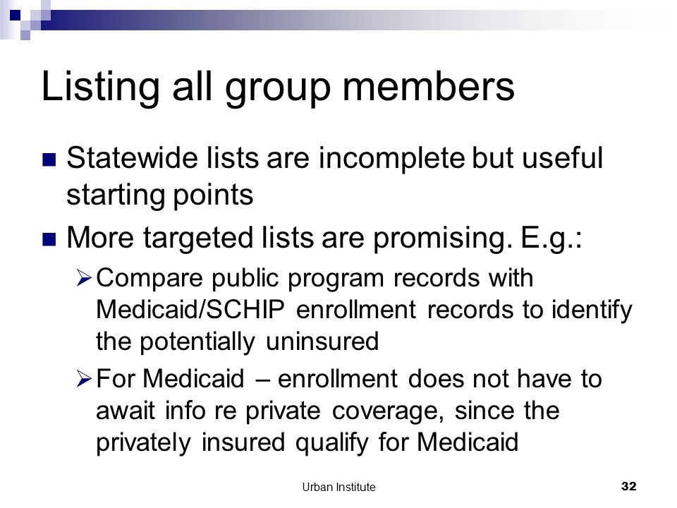 Urban Institute32 Listing all group members Statewide lists are incomplete but useful starting points More targeted lists are promising.
