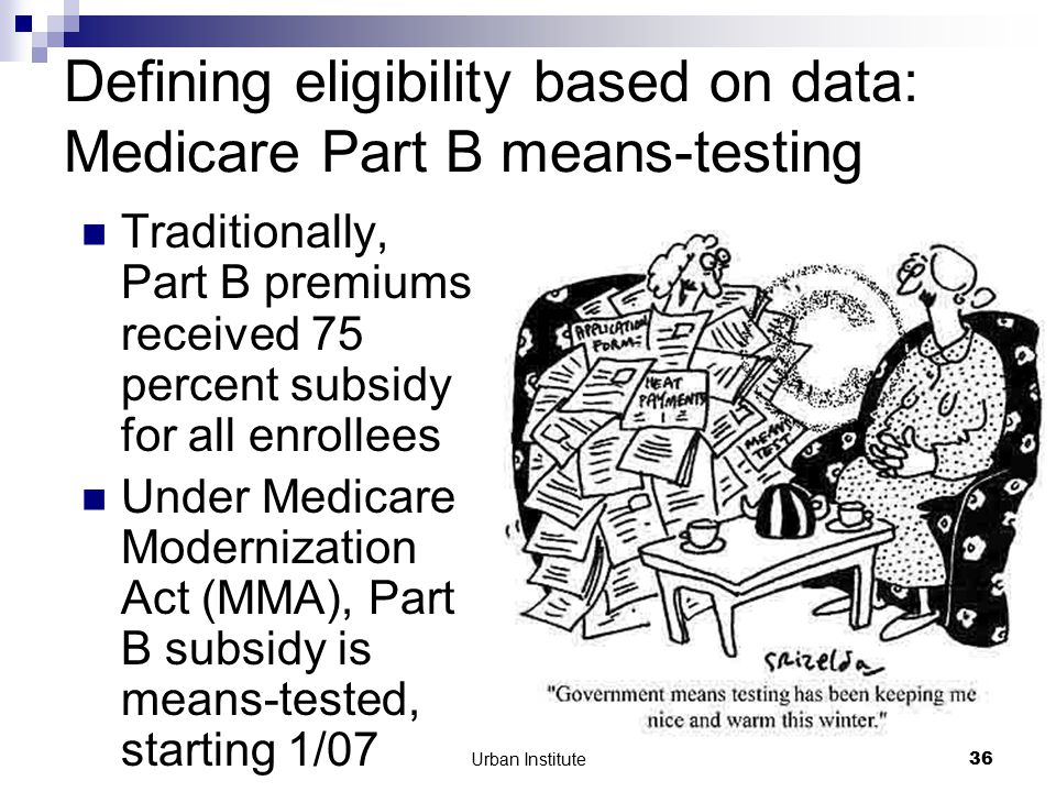 Urban Institute36 Defining eligibility based on data: Medicare Part B means-testing Traditionally, Part B premiums received 75 percent subsidy for all enrollees Under Medicare Modernization Act (MMA), Part B subsidy is means-tested, starting 1/07