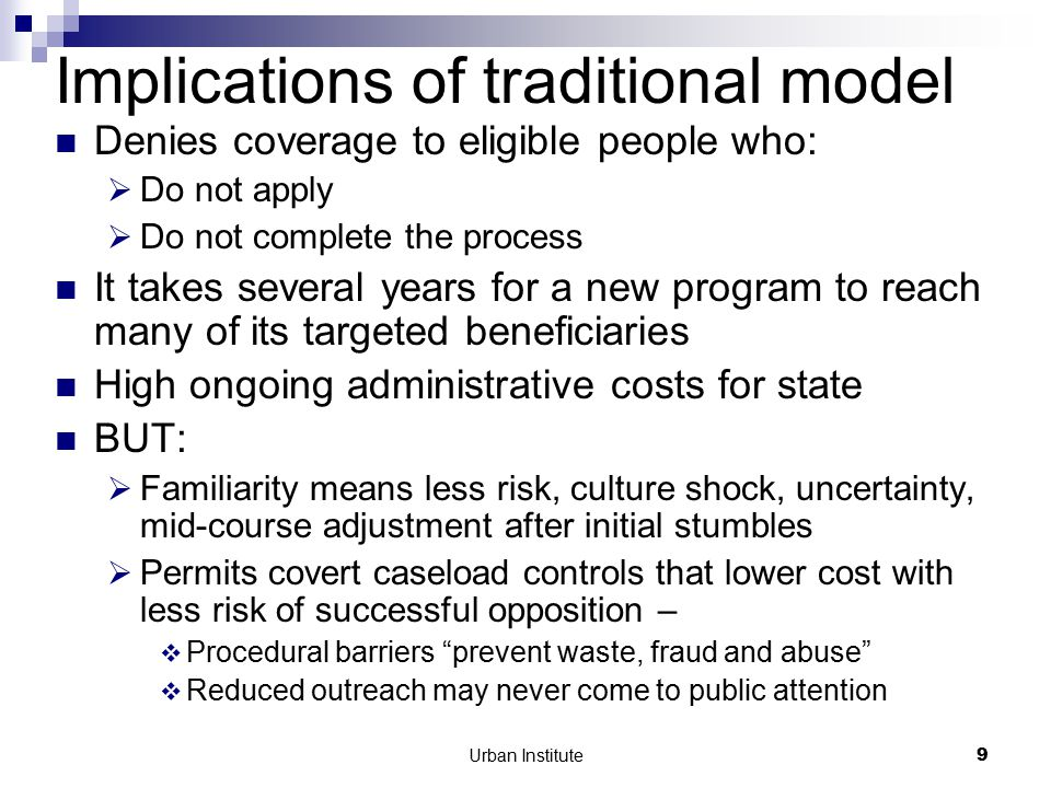 Urban Institute10 A different model: Auto-enrollment Mechanisms  Default enrollment  Data-driven enrollment  Proactively facilitated enrollment Promise – lessening the historic tension between safeguarding program integrity and simplifying application procedures.
