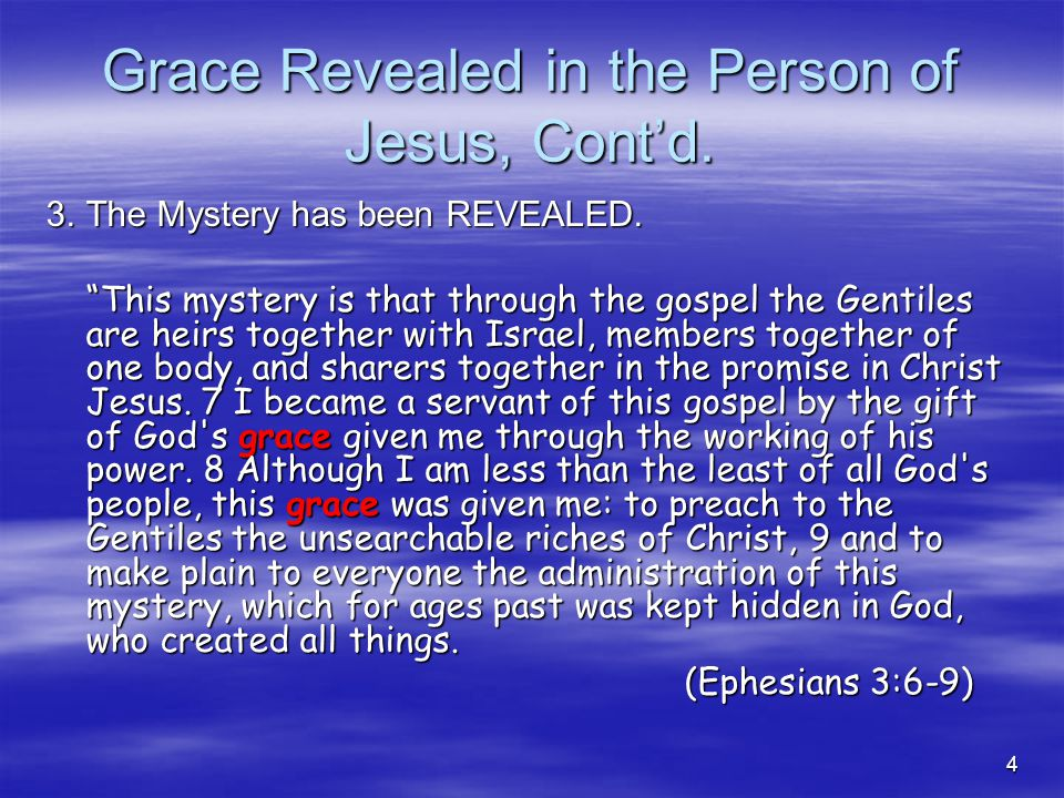4 Grace Revealed in the Person of Jesus, Cont'd. 3.The Mystery has been REVEALED.