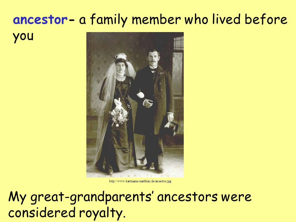 ancestor- a family member who lived before you My great-grandparents' ancestors were considered royalty.