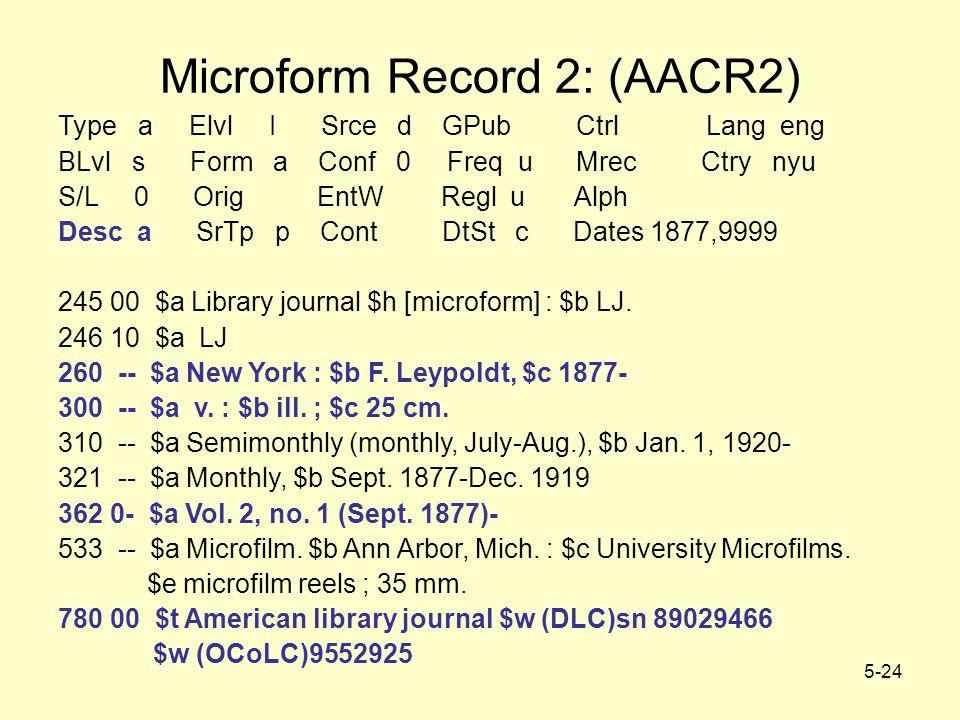 5-24 Microform Record 2: (AACR2) Type a Elvl I Srce d GPub Ctrl Lang eng BLvl s Form a Conf 0 Freq u Mrec Ctry nyu S/L 0 Orig EntW Regl u Alph Desc a SrTp p Cont DtSt c Dates 1877,9999 245 00 $a Library journal $h [microform] : $b LJ.