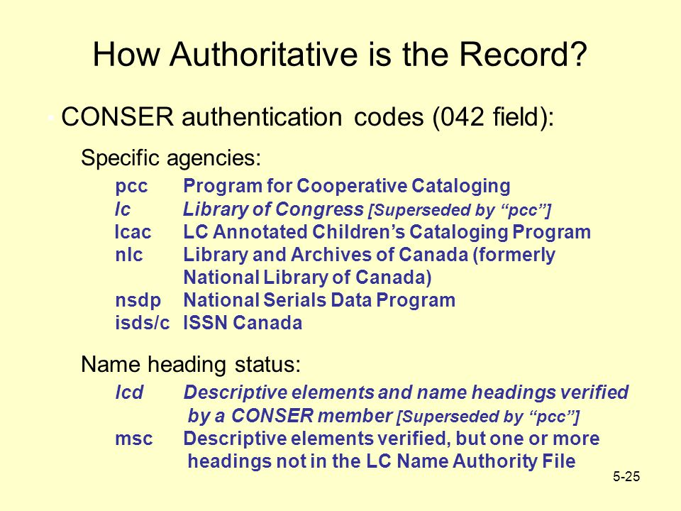 5-25 How Authoritative is the Record? CONSER authentication codes (042 field): Specific agencies: pccProgram for Cooperative Cataloging lc Library of