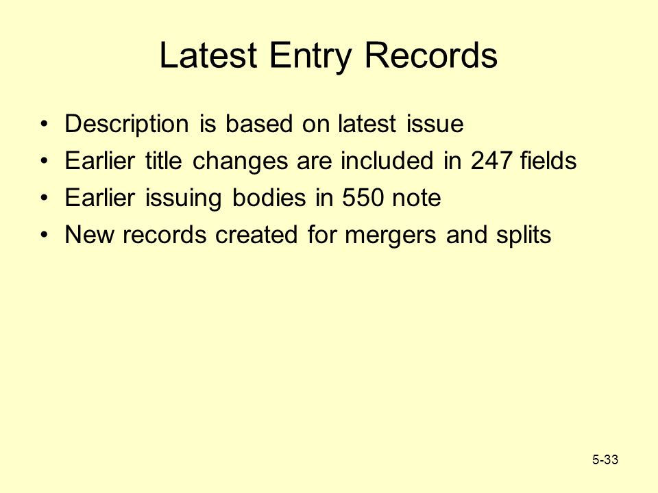 5-33 Latest Entry Records Description is based on latest issue Earlier title changes are included in 247 fields Earlier issuing bodies in 550 note New