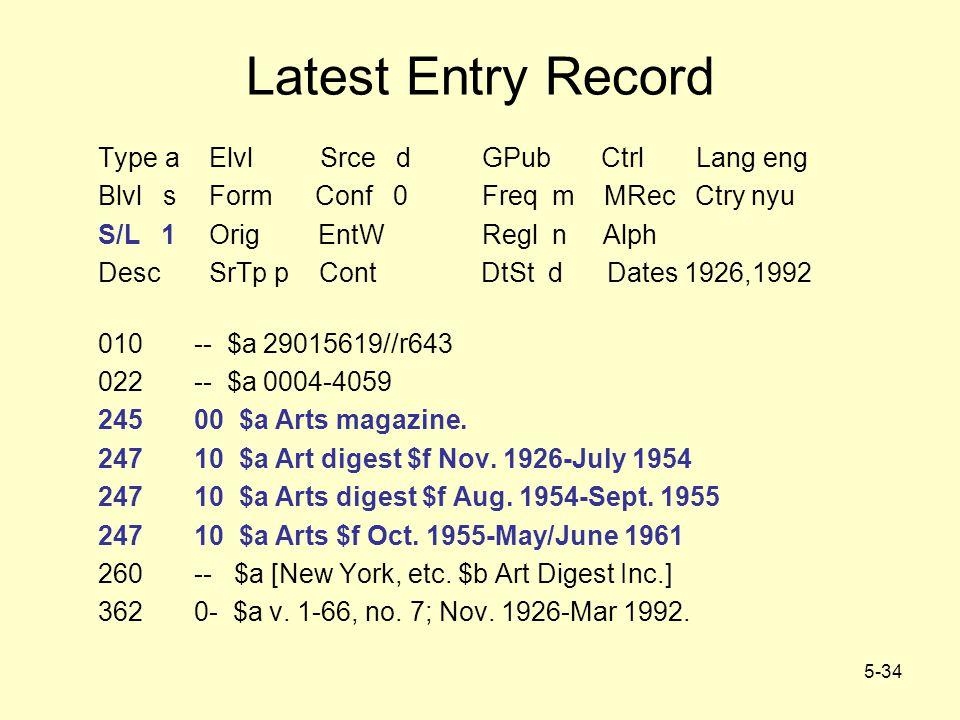 5-34 Latest Entry Record Type a Elvl Srce dGPub Ctrl Lang eng Blvl s Form Conf 0Freq m MRec Ctry nyu S/L 1 Orig EntW Regl n Alph Desc SrTp p Cont DtSt d Dates 1926,1992 010-- $a 29015619//r643 022-- $a 0004-4059 24500 $a Arts magazine.