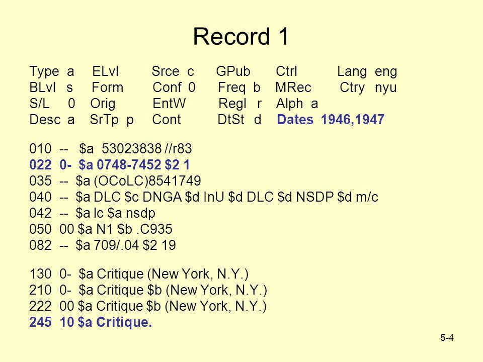 5-4 Record 1 Type a ELvl Srce c GPub Ctrl Lang eng BLvl s Form Conf 0 Freq b MRec Ctry nyu S/L 0 Orig EntW Regl r Alph a Desc a SrTp p Cont DtSt d Dates 1946,1947 010 -- $a 53023838 //r83 022 0- $a 0748-7452 $2 1 035 -- $a (OCoLC)8541749 040 -- $a DLC $c DNGA $d InU $d DLC $d NSDP $d m/c 042 -- $a lc $a nsdp 050 00 $a N1 $b.C935 082 -- $a 709/.04 $2 19 130 0- $a Critique (New York, N.Y.) 210 0- $a Critique $b (New York, N.Y.) 222 00 $a Critique $b (New York, N.Y.) 245 10 $a Critique.