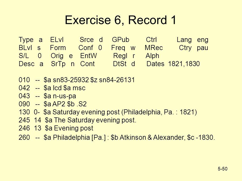 5-50 Exercise 6, Record 1 Type a ELvl Srce d GPub Ctrl Lang eng BLvl s Form Conf 0 Freq w MRec Ctry pau S/L 0 Orig e EntW Regl r Alph Desc a SrTp n Cont DtSt d Dates 1821,1830 010 -- $a sn83-25932 $z sn84-26131 042 -- $a lcd $a msc 043 -- $a n-us-pa 090 -- $a AP2 $b.S2 130 0- $a Saturday evening post (Philadelphia, Pa.
