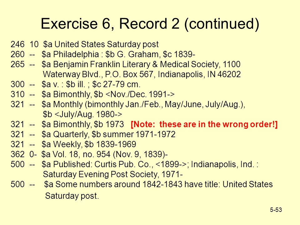 5-53 Exercise 6, Record 2 (continued) 246 10 $a United States Saturday post 260 -- $a Philadelphia : $b G. Graham, $c 1839- 265 -- $a Benjamin Frankli