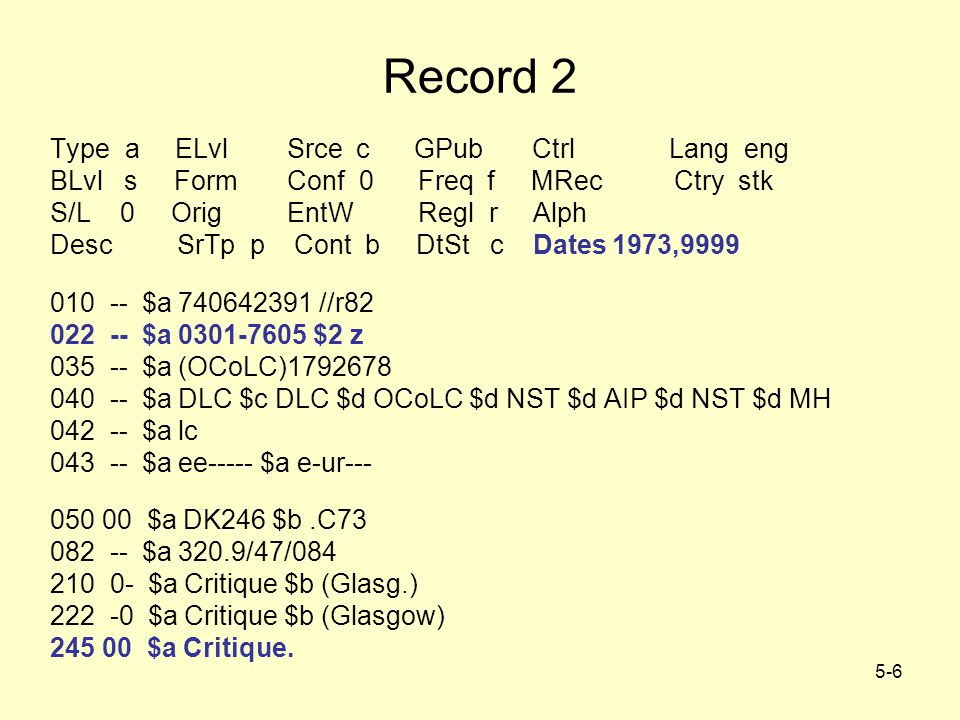 5-6 Record 2 Type a ELvl Srce c GPub Ctrl Lang eng BLvl s Form Conf 0 Freq f MRec Ctry stk S/L 0 Orig EntW Regl r Alph Desc SrTp p Cont b DtSt c Dates 1973,9999 010 -- $a 740642391 //r82 022 -- $a 0301-7605 $2 z 035 -- $a (OCoLC)1792678 040 -- $a DLC $c DLC $d OCoLC $d NST $d AIP $d NST $d MH 042 -- $a lc 043 -- $a ee----- $a e-ur--- 050 00 $a DK246 $b.C73 082 -- $a 320.9/47/084 210 0- $a Critique $b (Glasg.) 222 -0 $a Critique $b (Glasgow) 245 00 $a Critique.