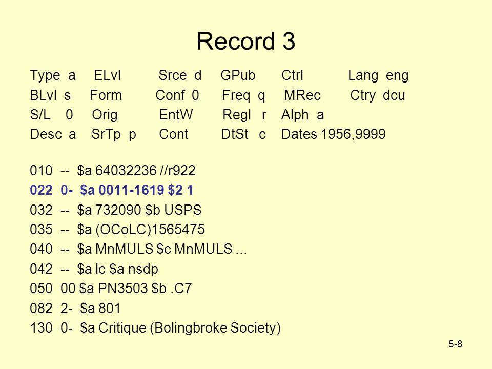 5-8 Record 3 Type a ELvl Srce d GPub Ctrl Lang eng BLvl s Form Conf 0 Freq q MRec Ctry dcu S/L 0 Orig EntW Regl r Alph a Desc a SrTp p Cont DtSt c Dates 1956,9999 010 -- $a 64032236 //r922 022 0- $a 0011-1619 $2 1 032 -- $a 732090 $b USPS 035 -- $a (OCoLC)1565475 040 -- $a MnMULS $c MnMULS...