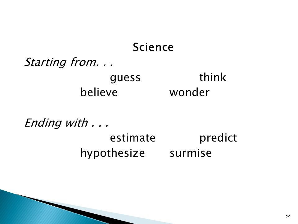 29 Science Starting from... guessthink believewonder Ending with...