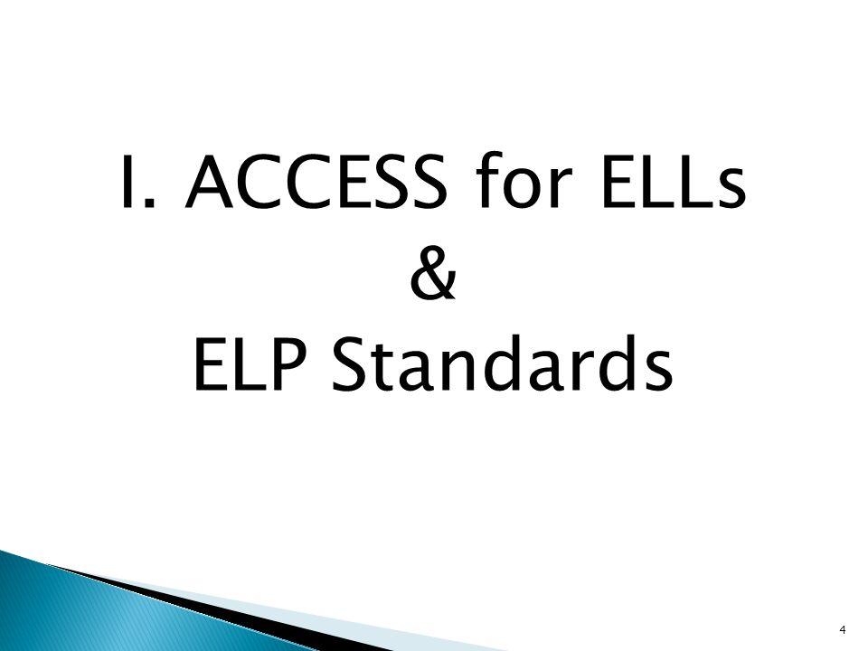 4 I. ACCESS for ELLs & ELP Standards