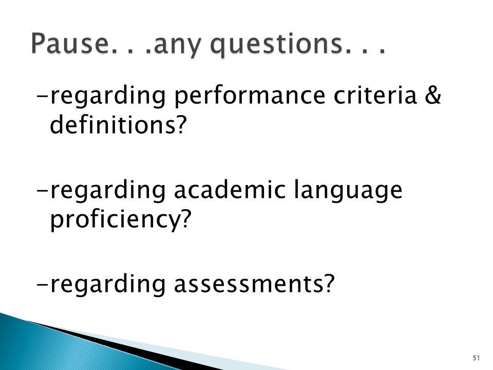 51 -regarding performance criteria & definitions. -regarding academic language proficiency.