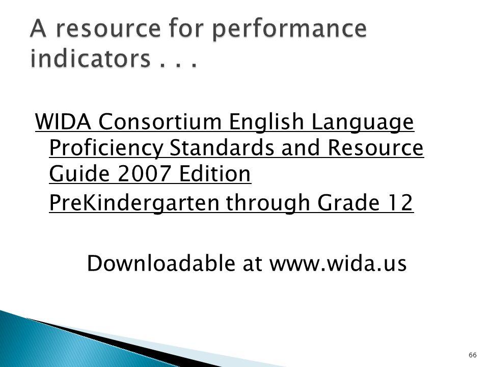 66 WIDA Consortium English Language Proficiency Standards and Resource Guide 2007 Edition PreKindergarten through Grade 12 Downloadable at www.wida.us
