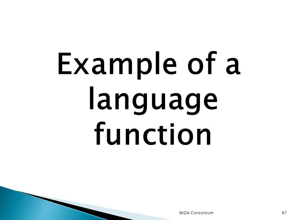 67 Example of a language function WIDA Consortium