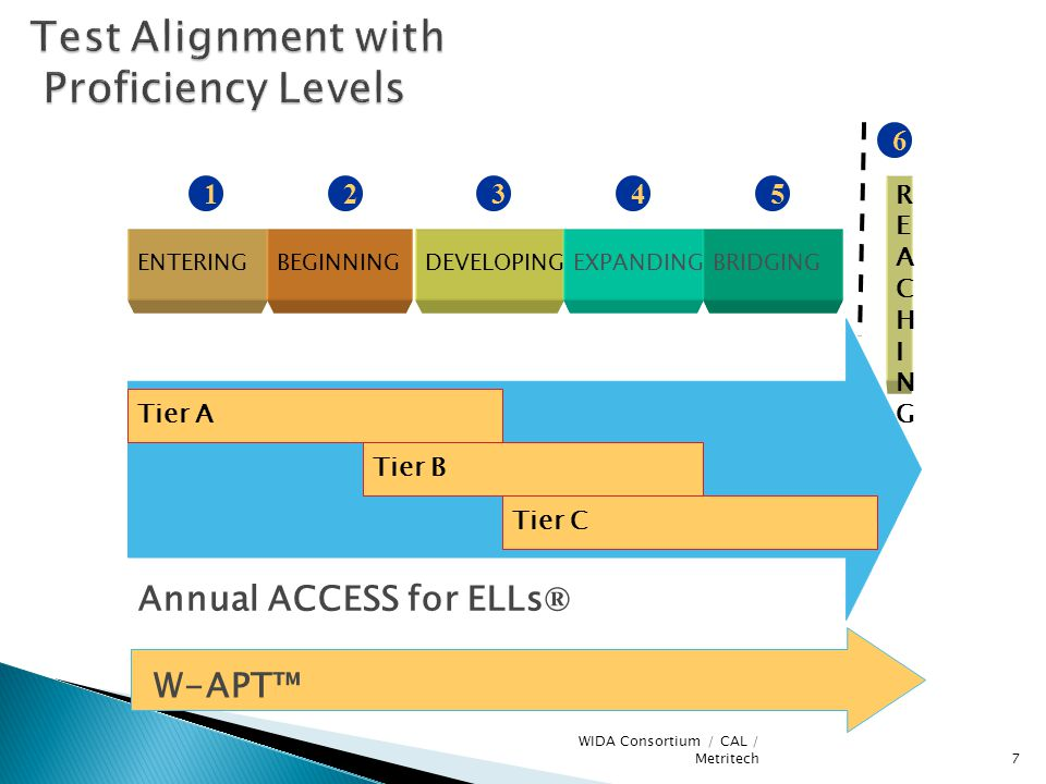 7 WIDA Consortium / CAL / Metritech Test Alignment with Proficiency Levels Annual ACCESS for ELLs ® W-APT™ ENTERINGBEGINNINGDEVELOPINGEXPANDINGBRIDGING 12345 Tier A Tier B Tier C 6 REACHINGREACHING