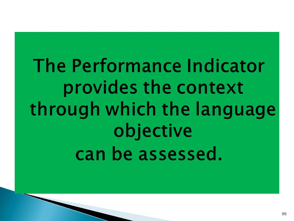 96 The Performance Indicator provides the context through which the language objective can be assessed.