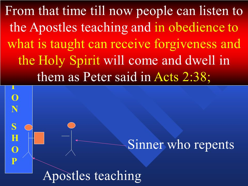 SALVATIONSHOPSALVATIONSHOP From that time till now people can listen to the Apostles teaching and in obedience to what is taught can receive forgiveness and the Holy Spirit will come and dwell in them as Peter said in Acts 2:38; Apostles teaching Sinner who repents