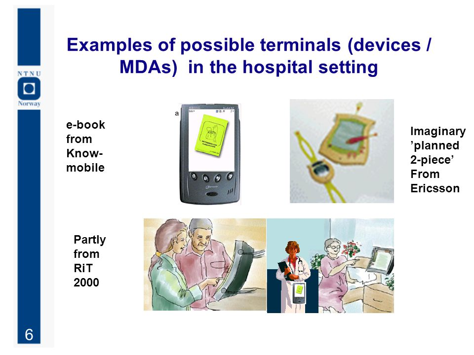 6 Examples of possible terminals (devices / MDAs) in the hospital setting e-book from Know- mobile Partly from RiT 2000 Imaginary 'planned 2-piece' Fr