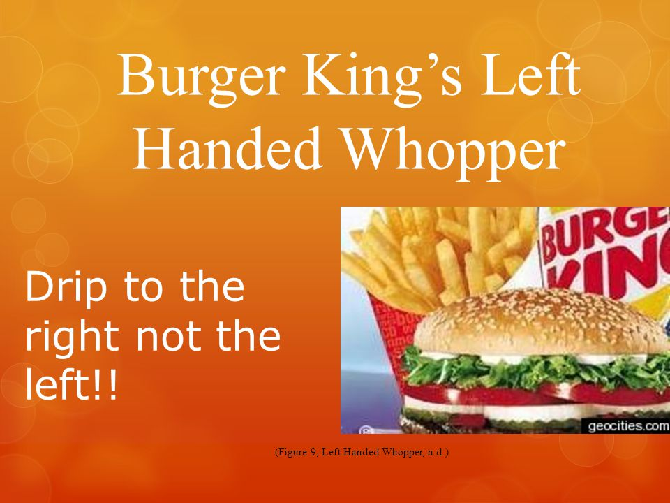 Burger King's Left Handed Whopper Drip to the right not the left!.