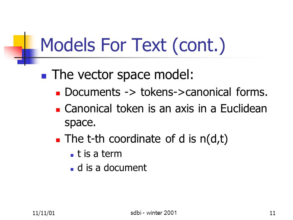 11/11/01sdbi - winter 200111 Models For Text (cont.) The vector space model: Documents -> tokens->canonical forms.