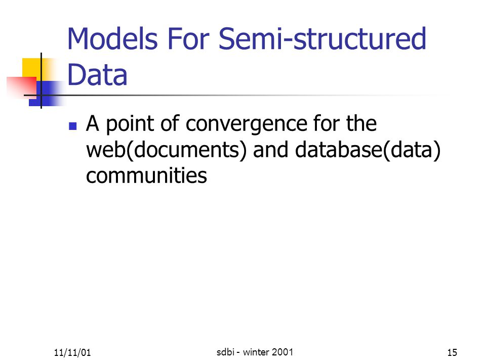 11/11/01sdbi - winter 200115 Models For Semi-structured Data A point of convergence for the web(documents) and database(data) communities
