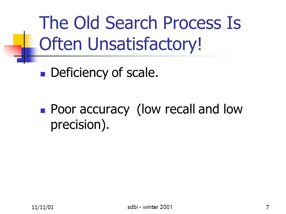 11/11/01sdbi - winter 20017 The Old Search Process Is Often Unsatisfactory.