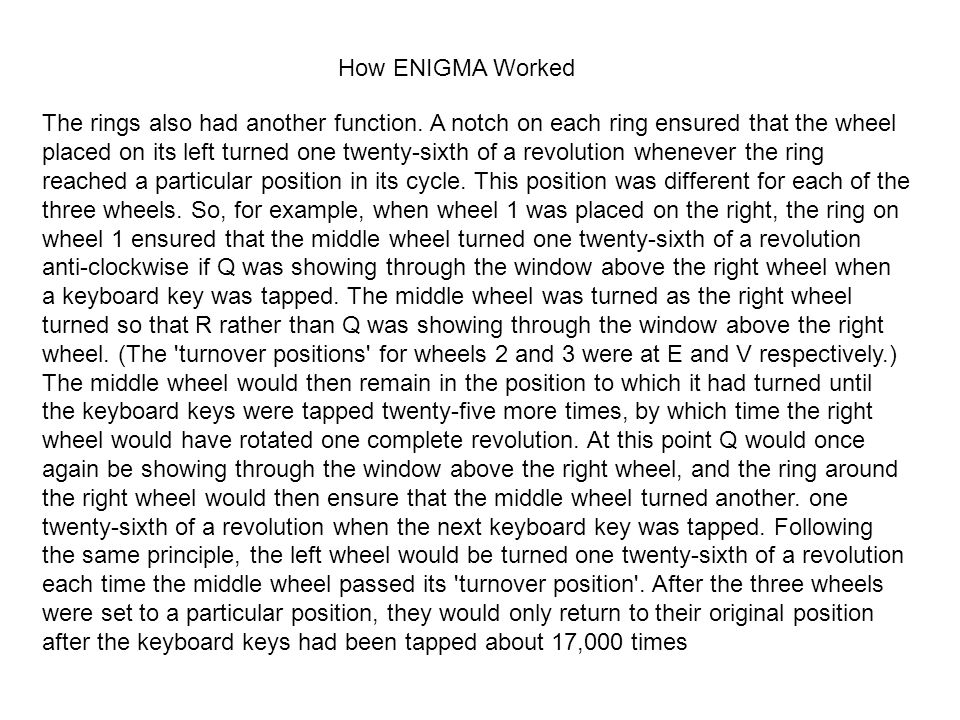 How ENIGMA Worked The rings also had another function.