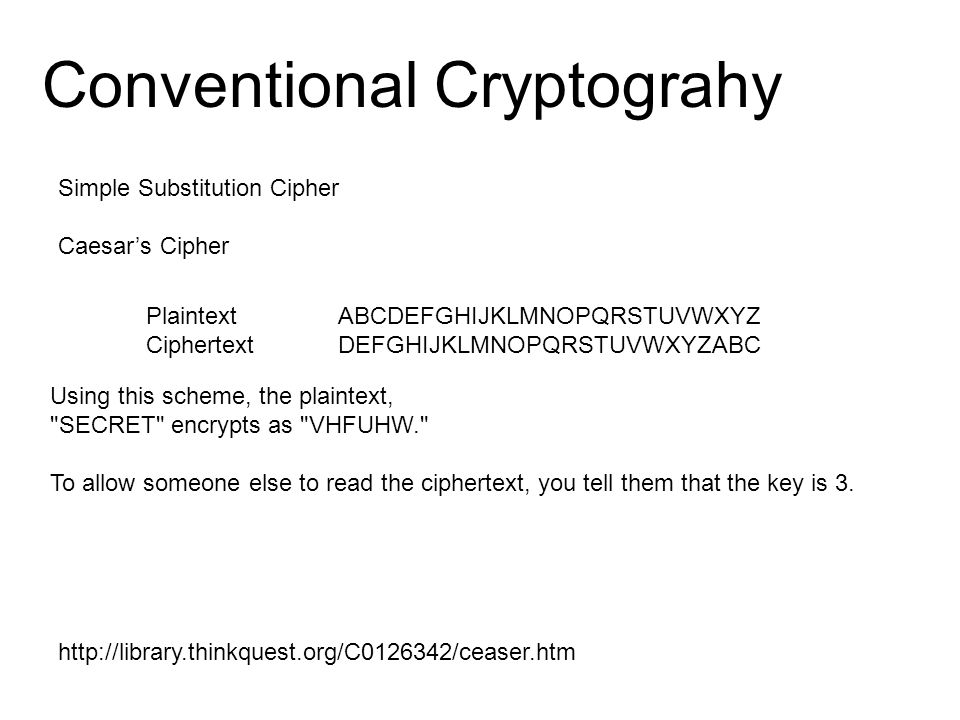 Conventional Cryptograhy PlaintextABCDEFGHIJKLMNOPQRSTUVWXYZ CiphertextDEFGHIJKLMNOPQRSTUVWXYZABC Simple Substitution Cipher Caesar's Cipher Using this scheme, the plaintext, SECRET encrypts as VHFUHW. To allow someone else to read the ciphertext, you tell them that the key is 3.