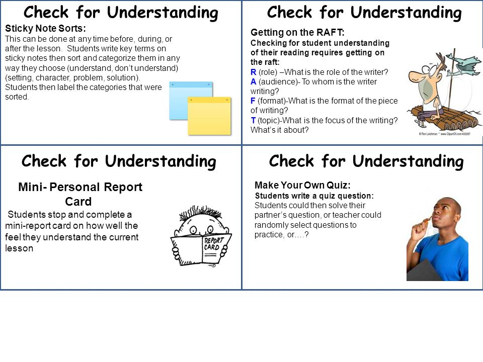 Check for Understanding Sticky Note Sorts: This can be done at any time before, during, or after the lesson.