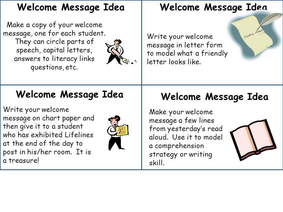 Welcome Message Idea Make a copy of your welcome message, one for each student.