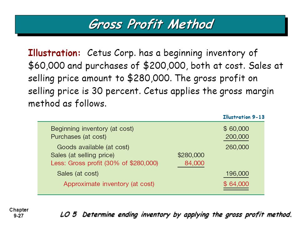 Chapter 9-27 Gross Profit Method LO 5 Determine ending inventory by applying the gross profit method. Illustration: Cetus Corp. has a beginning invent