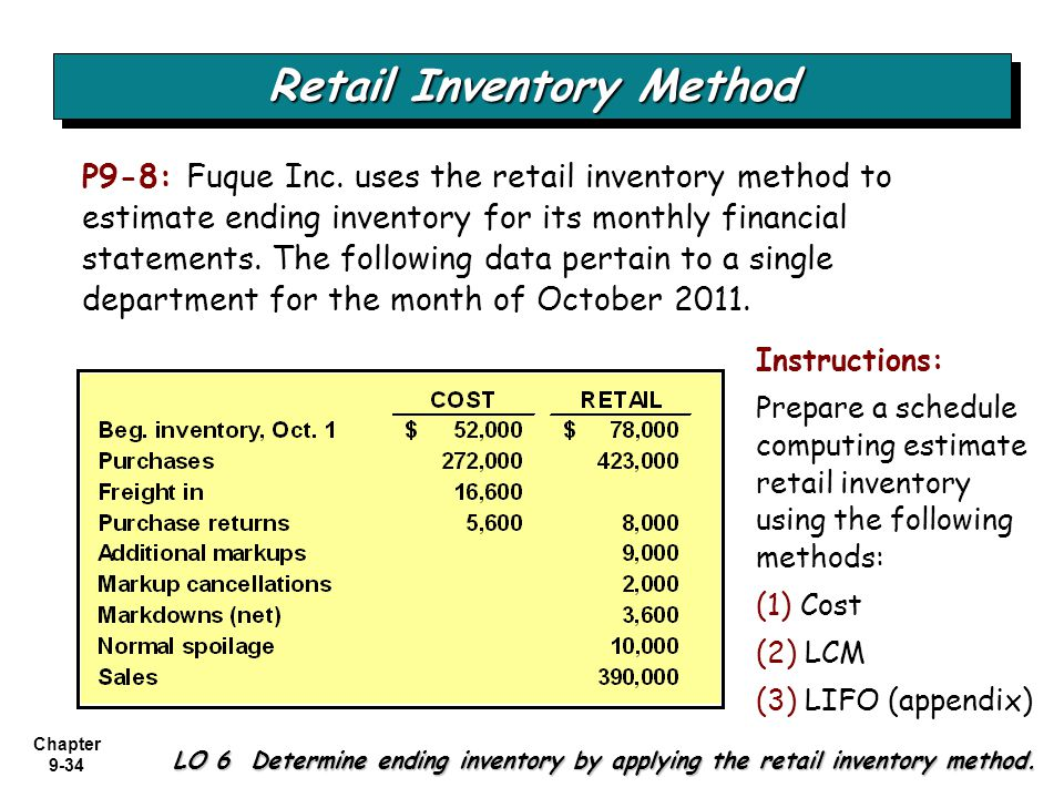Chapter 9-34 P9-8: Fuque Inc. uses the retail inventory method to estimate ending inventory for its monthly financial statements. The following data p