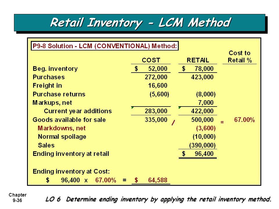 Chapter 9-36 Retail Inventory - LCM Method LO 6 Determine ending inventory by applying the retail inventory method. = /