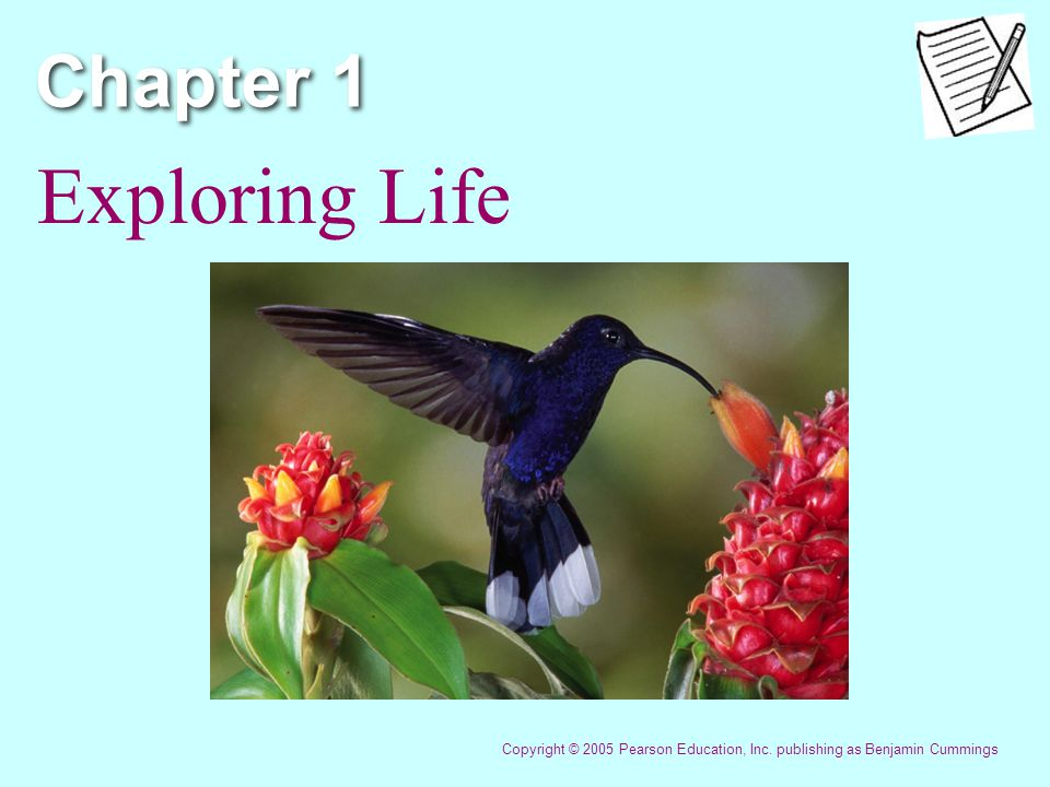 Chapter 1 Exploring Life Copyright © 2005 Pearson Education, Inc. publishing as Benjamin Cummings