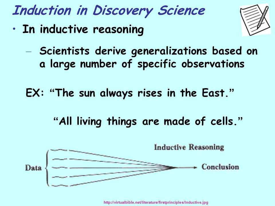 "Induction in Discovery Science In inductive reasoning – Scientists derive generalizations based on a large number of specific observations EX: "" The s"