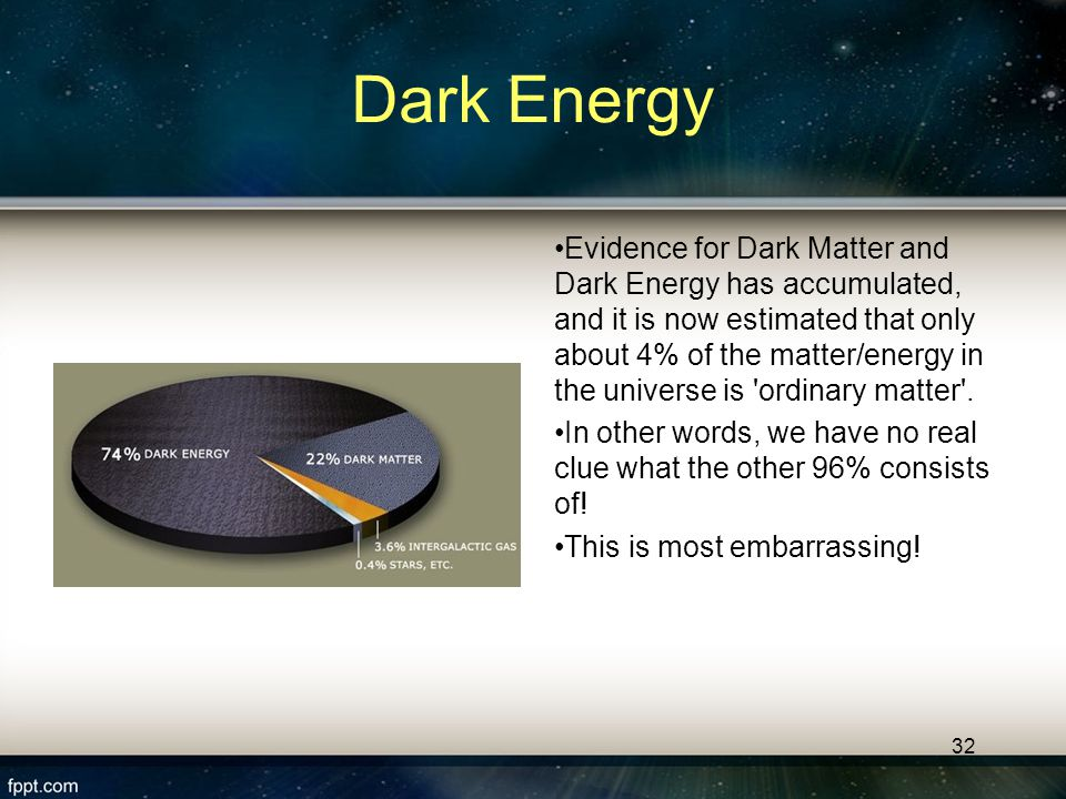 31 Dark Matter & Dark Energy Over the past 35 years or so, cosmologists' and physicists understanding of the universe has been turned on its head.